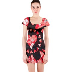 Love Heart Splatter Short Sleeve Bodycon Dress