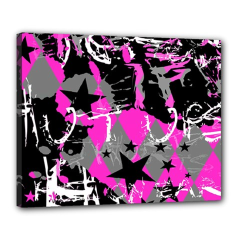 Pink Scene Kid Canvas 20  X 16  (framed)