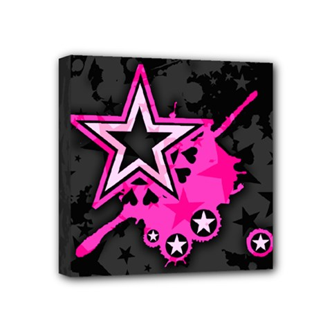 Pink Star Graphic Mini Canvas 4  X 4  (framed)