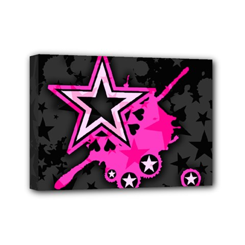 Pink Star Graphic Mini Canvas 7  X 5  (framed)