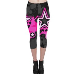 Pink Star Graphic Capri Leggings