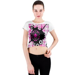 Pink Star Splatter Crew Neck Crop Top