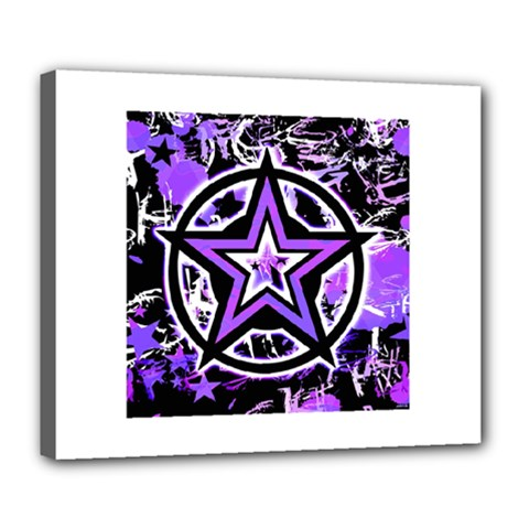 Purple Star Deluxe Canvas 24  X 20  (framed)