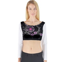 Pink Star Explosion Long Sleeve Crop Top (Tight Fit)