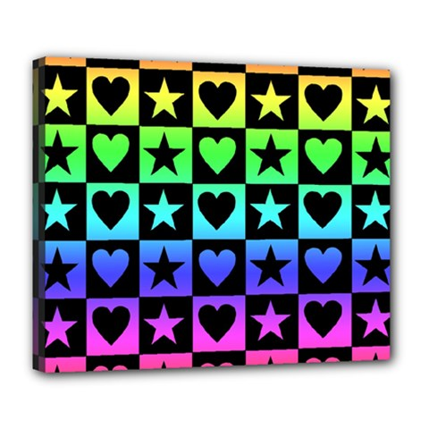 Rainbow Stars And Hearts Deluxe Canvas 24  X 20  (framed)