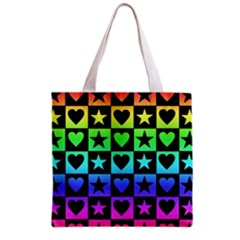 Rainbow Stars and Hearts Grocery Tote Bag