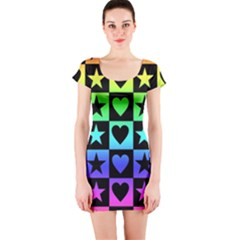 Rainbow Stars and Hearts Short Sleeve Bodycon Dress