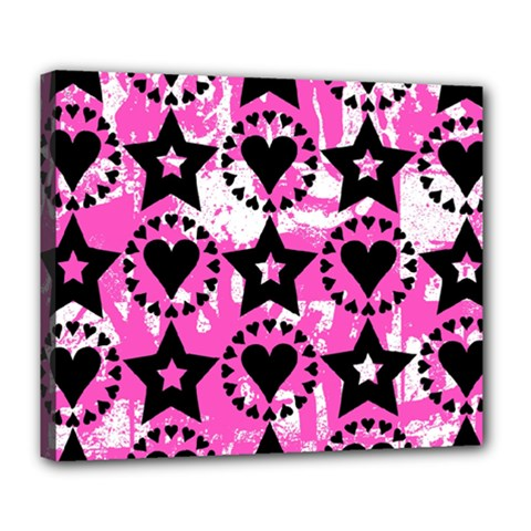 Star And Heart Pattern Deluxe Canvas 24  X 20  (framed)