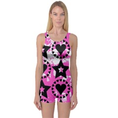 Star And Heart Pattern One Piece Boyleg Swimsuit