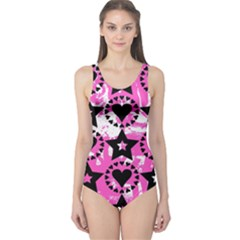 Star And Heart Pattern One Piece Swimsuit