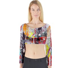 Abstract Graffiti Long Sleeve Crop Top (tight Fit)