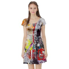 Abstract Graffiti Short Sleeve Skater Dress