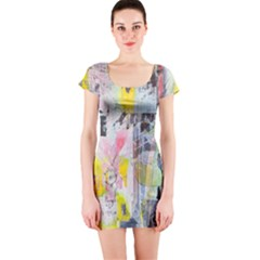Graffiti Graphic Short Sleeve Bodycon Dress