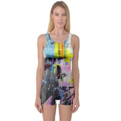 Graffiti Pop One Piece Boyleg Swimsuit
