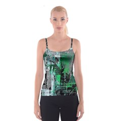 Green Urban Graffiti Spaghetti Strap Top