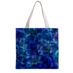 Blue Squares Tiles Grocery Tote Bag