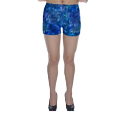 Blue Squares Tiles Skinny Shorts