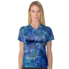 Blue Squares Tiles Women s V-Neck Sport Mesh Tee