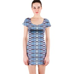 Blue batik Short Sleeve Bodycon Dress