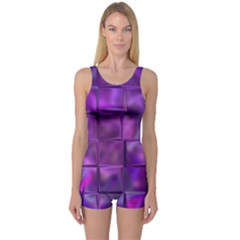 Purple Squares One Piece Boyleg Swimsuit