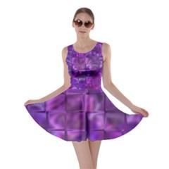 Purple Squares Skater Dress