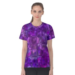 Purple Squares Women s Cotton Tee