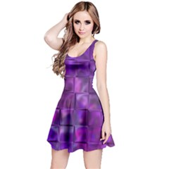 Purple Squares Reversible Sleeveless Dress