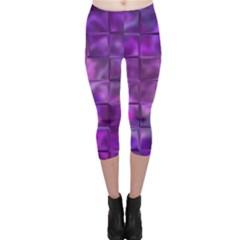 Purple Squares Capri Leggings