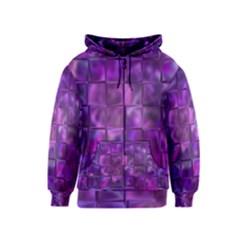Purple Squares Kids Zipper Hoodie