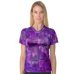 Purple Squares Women s V-Neck Sport Mesh Tee