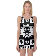 Goth Punk Skull Checkers One Piece Boyleg Swimsuit