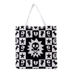 Goth Punk Skull Checkers Grocery Tote Bag