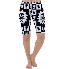 Goth Punk Skull Checkers Cropped Leggings