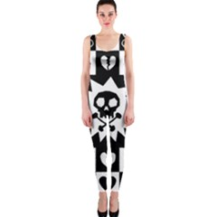 Goth Punk Skull Checkers Onepiece Catsuit
