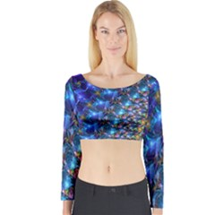 Blue Sunrise Fractal Long Sleeve Crop Top (Tight Fit)
