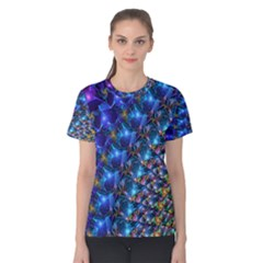 Blue Sunrise Fractal Women s Cotton Tee