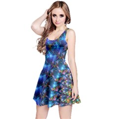 Blue Sunrise Fractal Reversible Sleeveless Dress