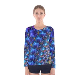 Blue Sunrise Fractal Women s Long Sleeve T-shirt