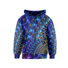 Blue Sunrise Fractal Kids Zipper Hoodie