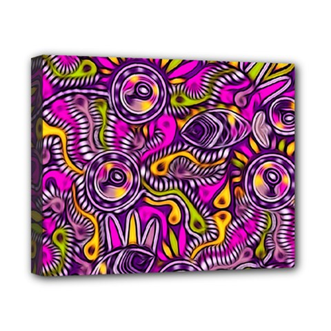 Purple Tribal Abstract Fish Canvas 10  X 8  (framed)
