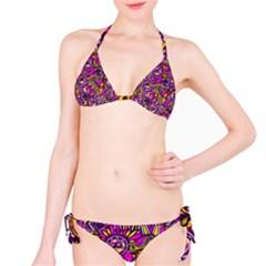 Purple Tribal Abstract Fish Bikini