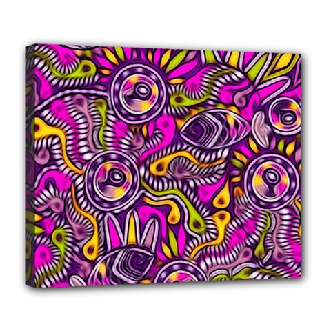 Purple Tribal Abstract Fish Deluxe Canvas 24  X 20  (framed)