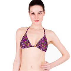 Purple Tribal Abstract Fish Bikini Top