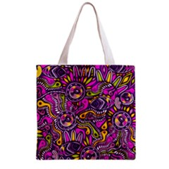 Purple Tribal Abstract Fish Grocery Tote Bag