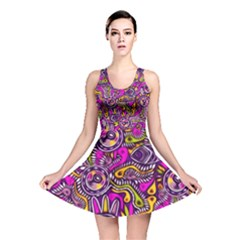 Purple Tribal Abstract Fish Reversible Skater Dress