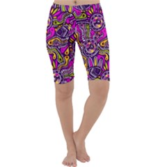 Purple Tribal Abstract Fish Cropped Leggings