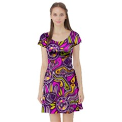 Purple Tribal Abstract Fish Short Sleeve Skater Dress