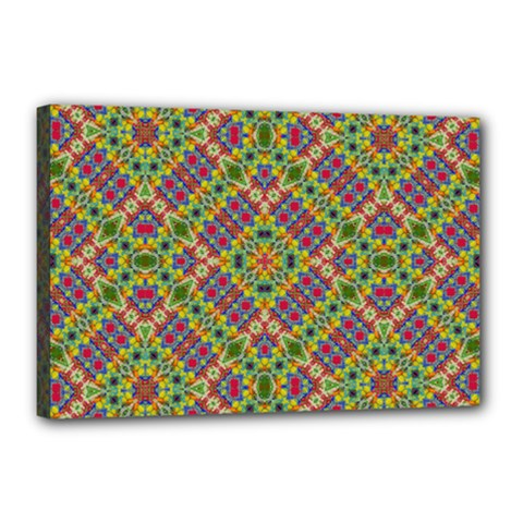 Multicolor Geometric Ethnic Seamless Pattern Canvas 18  X 12  (framed)