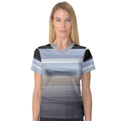 Painted Pompey Beach Women s V-Neck Sport Mesh Tee