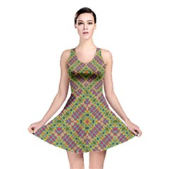 Multicolor Geometric Ethnic  Reversible Skater Dress